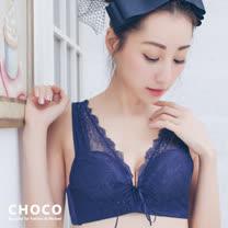 CHOCO SHOP 深夜迷情-無鋼圈零著感蕾絲款(藍色) 70~80