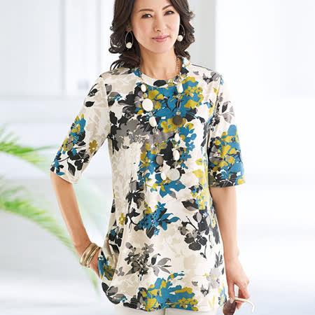 日本Portcros 現貨-五分袖長版休閒印花上衣(共兩色)