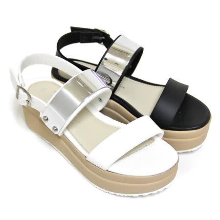 【Pretty】韓系寬版金屬片繞踝厚底涼鞋