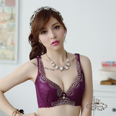 LaQueen蕾絲刺繡美胸蠶絲內衣A-F(深紫)_品特匯