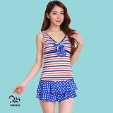 WINCEYS 夏日甜美俏麗泳衣-點點兩件式-藍