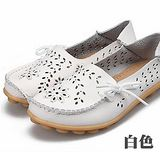 【Moscova】全段尺碼34-44 夏季鏤空雕花舒適兩穿真皮豆豆鞋-白色