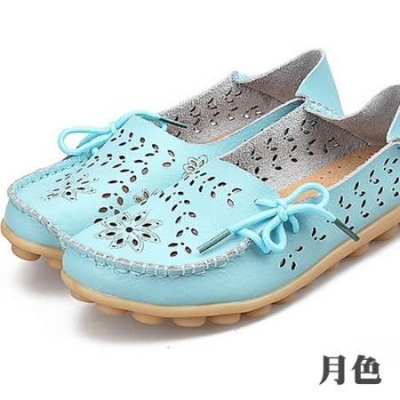 【Moscova】全段尺碼34-44 夏季鏤空雕花舒適兩穿真皮豆豆鞋-月色