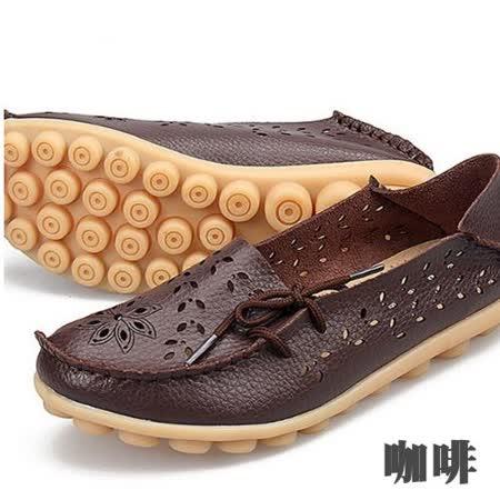 【Moscova】全段尺碼34-44 夏季鏤空雕花舒適兩穿真皮豆豆鞋-咖啡色