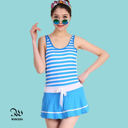 WINCEYS 夏日甜美俏麗泳衣-條紋連身-藍