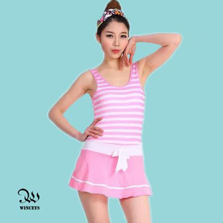 WINCEYS 夏日甜美俏麗泳衣-條紋連身-粉