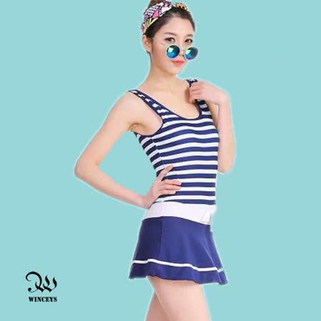 WINCEYS 夏日甜美俏麗泳衣-條紋連身-深藍