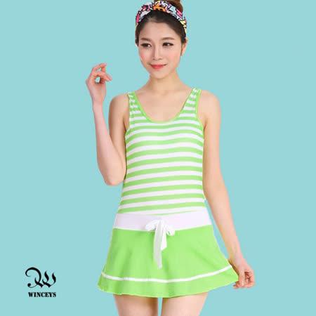 WINCEYS 夏日甜美俏麗泳衣-條紋連身-綠