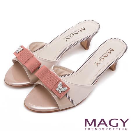 MAGY 時尚優雅名媛 織帶蝴蝶結中跟涼拖鞋-粉紅