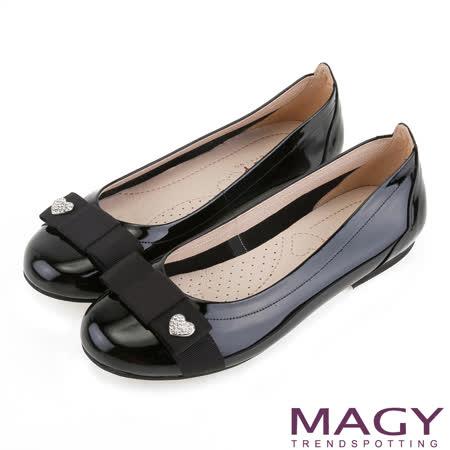 MAGY 甜新女孩 愛心鑽飾織帶蝴蝶結娃娃鞋-黑色
