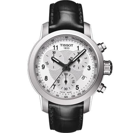 TISSOT 天梭 PRC 200 時尚三眼女用皮帶腕錶/35mm/T0552171603202