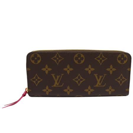 Louis Vuitton LV M42119 Clemence 經典花紋拉鍊長夾.桃紅_現貨