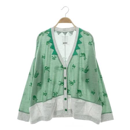 gozo 動物圖騰開襟外套-中綠