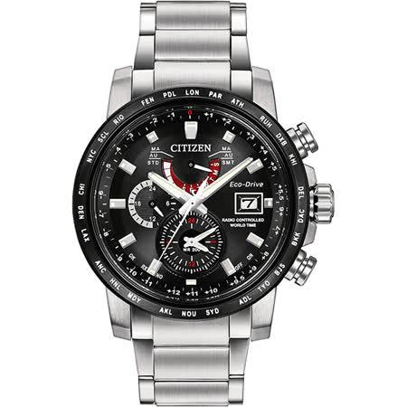 CITIZEN 光動能全球電波對時腕錶-黑x銀/43mm AT9071-58E