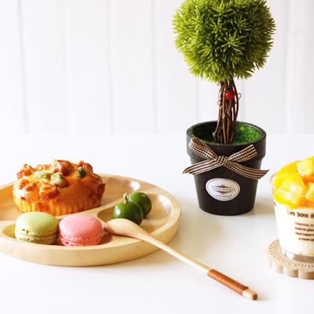 【Homely Zakka】木趣食光日系木質圓型分隔餐盤