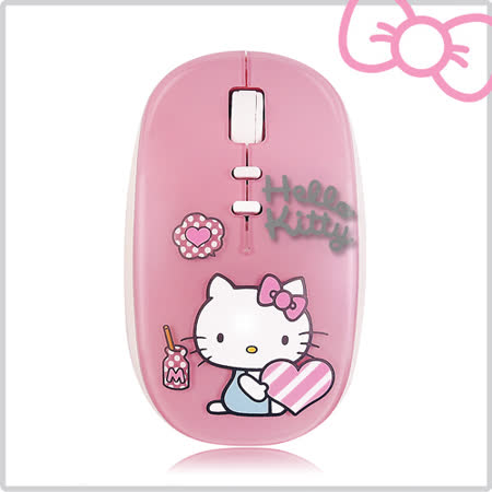 Hello Kitty 鏡面花漾粉 輕巧愛心無線滑鼠 (KT-LG03)