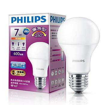 飛利浦LED廣角燈泡-黃光(7W)