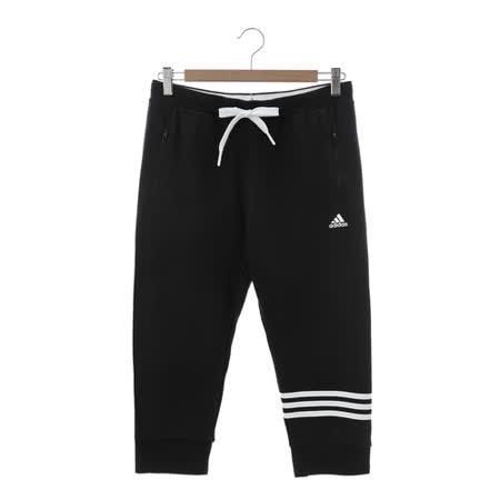 Adidas (女)七分棉褲 黑白AP5876