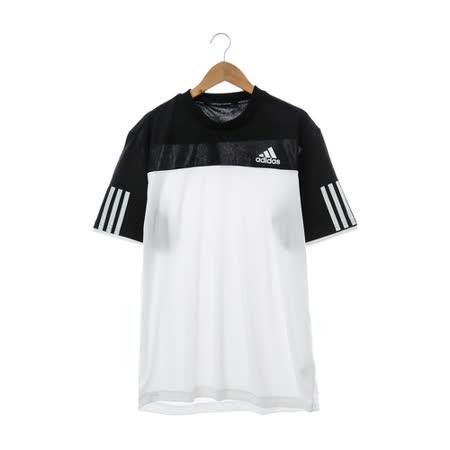 adidas(男)短袖上衣 黑白AI0730