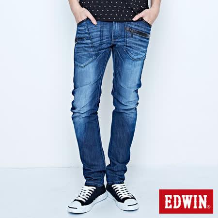 EDWIN E-FUNCTION 機能多袋3D窄直筒牛仔褲-男-中古藍
