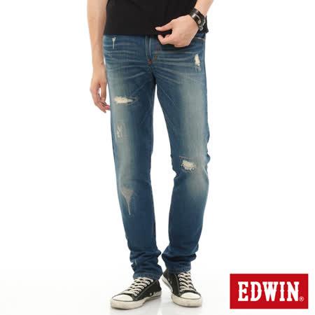 EDWIN 503 NARROW 破壞窄直筒牛仔褲-男-石洗藍