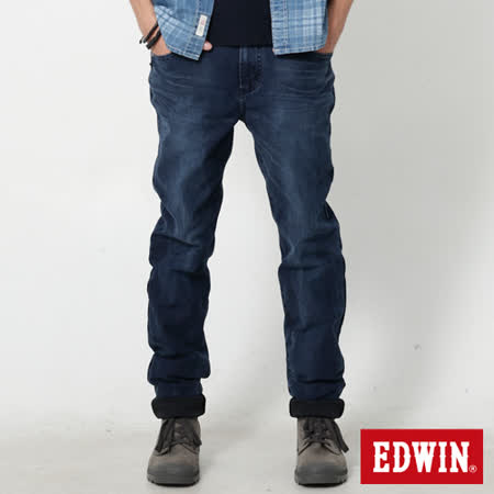 EDWIN 迦績褲 重水洗磨毛AB牛仔褲-男-酵洗藍