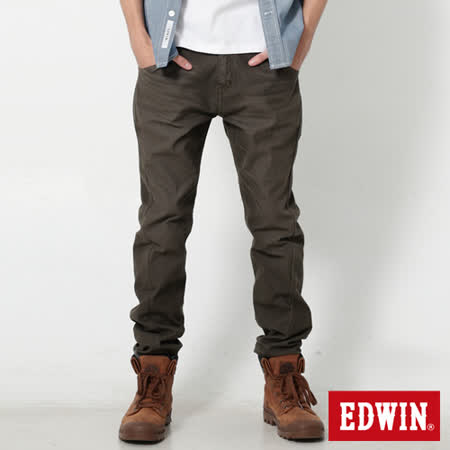 EDWIN 迦績褲 E-FUNCTION磨毛窄直筒色褲-男-橄欖綠