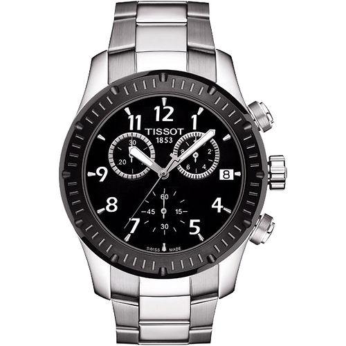 TISSOT T~SPORT V8 極限競速三眼計時腕錶^(黑x銀42mm^) T0394