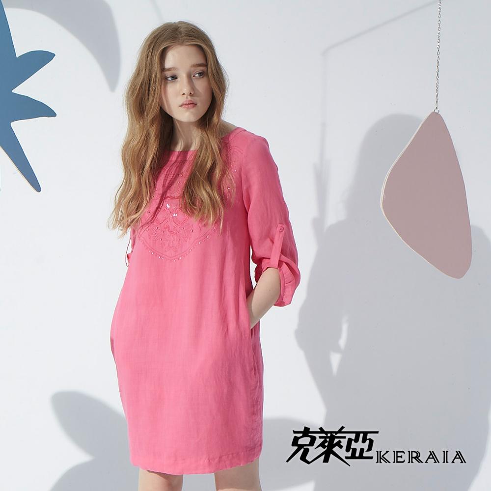 ~克萊亞KERAIA~繡花棉麻口袋洋裝