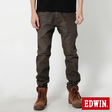 EDWIN 大尺碼 迦績褲 E-F磨毛窄直筒色褲-男-橄欖綠