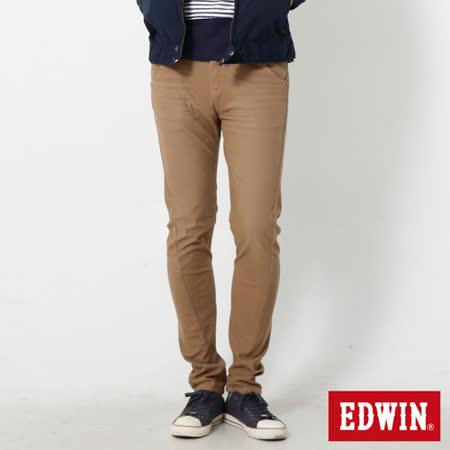 EDWIN 大尺碼 迦績褲 E-F磨毛窄直筒色褲-男-灰卡其