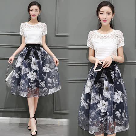 【韓國KW】蕾絲鏤空印花裙套裝