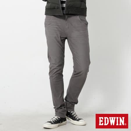 EDWIN 大尺碼 迦績褲 E-F磨毛窄直筒色褲-男-灰色