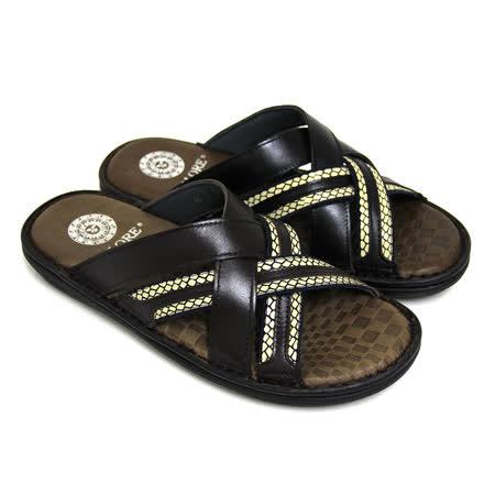 【GREEN PHOENIX】多層交叉壓紋全真皮平底拖鞋(男款)