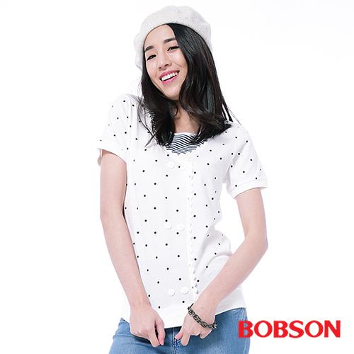 BOBSON 女款仿兩件式印點上衣^(25090~01^)