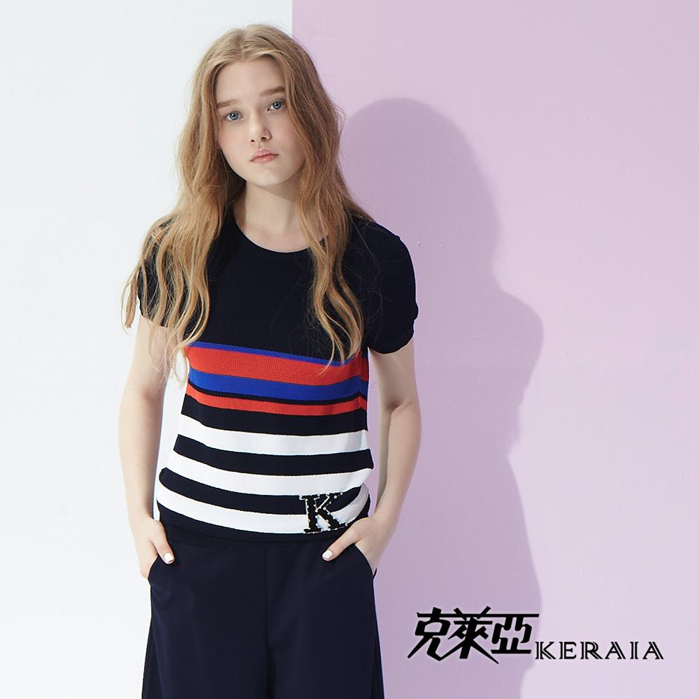 【克萊亞KERAIA】配色條紋針織上衣