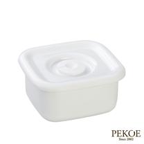 野田琺瑯-White Series系列方型密封盒(樹脂蓋.0.22L)*2