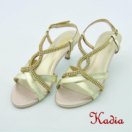Kadia.氣質交叉水鑽高跟涼鞋(金色)