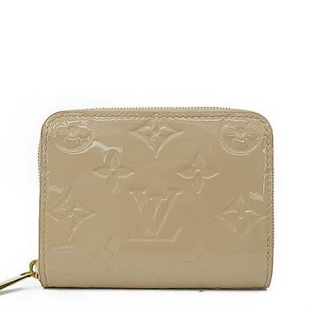 Louis Vuitton LV M90203 經典花紋全漆皮壓紋信用卡零錢包.沙色_現貨
