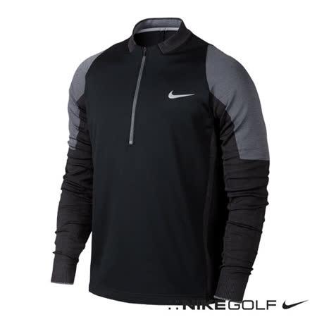 NikeGolf運動休閒快速排汗半拉鍊保暖長袖上衣(黑)687007-010