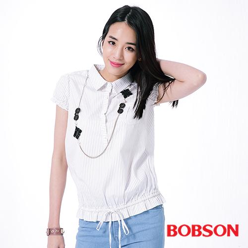 BOBSON 女款直條紋襯衫^(26139~01^)