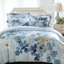 《KOSNEY 逆流時光藍》特大100%天絲全舖棉四件式兩用被冬包組