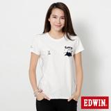 EDWIN 江戶勝 富士山W短袖T恤-女-米白