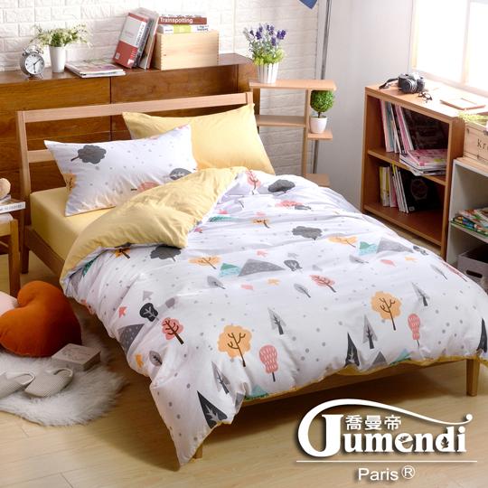 【法國Jumendi-綠光愛語】台灣製單人三件式特級純棉床包被套組