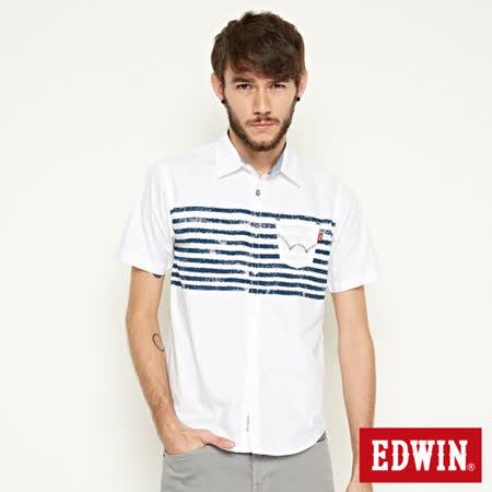 EDWIN 輪胎印條紋短袖襯衫-男-白色