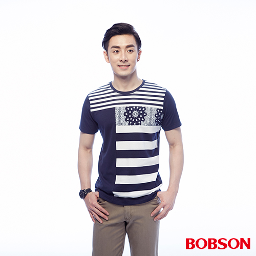BOBSON 男款剪接配條上衣 ^(25038~53^)