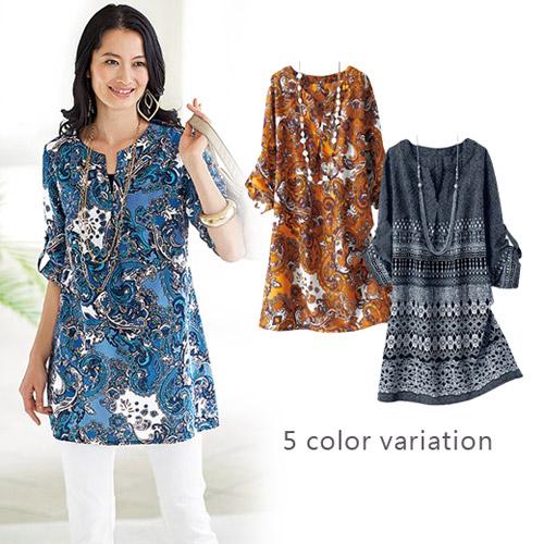 Portcros ~折縫七分袖印花長版棉質上衣^(變形蟲花樣^(藍^)L^)