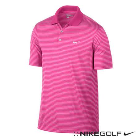 Nike運動休閒橫條快速排汗短袖POLO衫(粉)587173-667