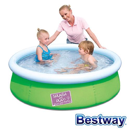 ~BESTWAY~護環加厚圓型充氣游泳池戲水池 ^(綠色^)