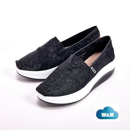 W&M BOUNCE系列 閃亮PU 休閒女鞋-黑(另有銀)